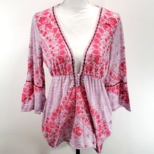 《Free People》Pink Bohemian Top V Neck Sz Large